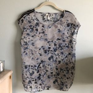 Blue and Purple floral printed blouse